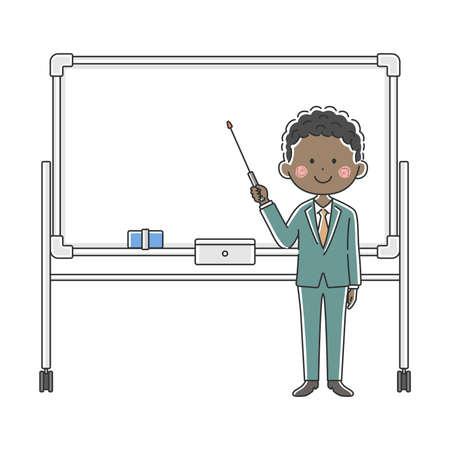 Illustration of a black businessman explained on a whiteboard Illustration