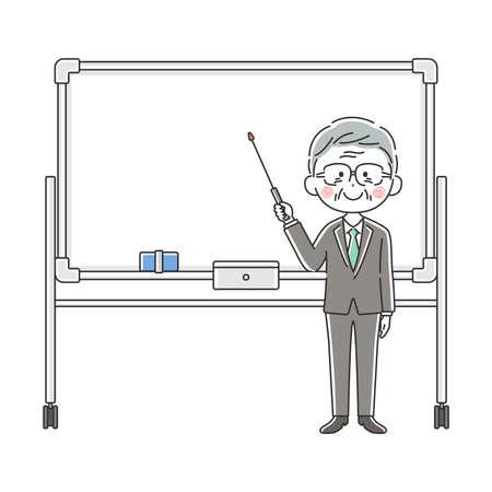 Illustration of an elderly Japanese businessman explained on a whiteboard