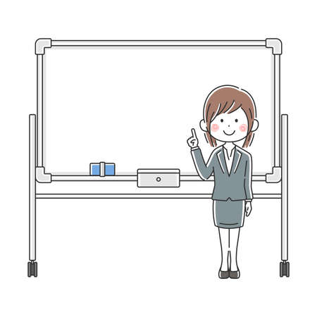 Illustration of Japanese businesswoman explained on whiteboard Illusztráció