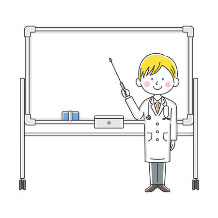 Illustration of a white doctor explained on a whiteboard