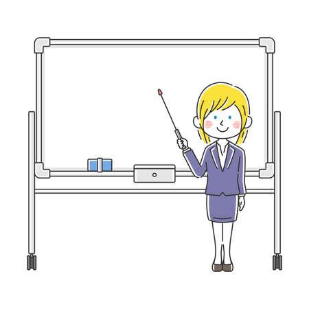 Illustration of caucasian businesswoman explained on whiteboard