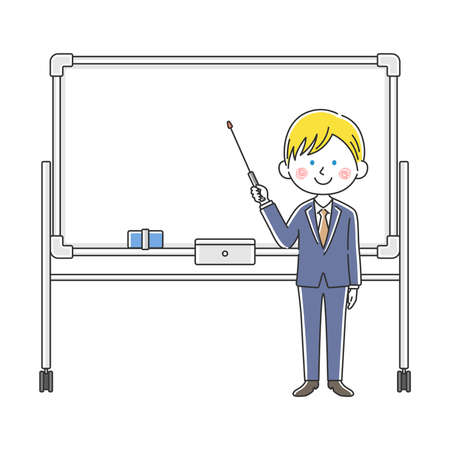Illustration of a white businessman explained on a whiteboard