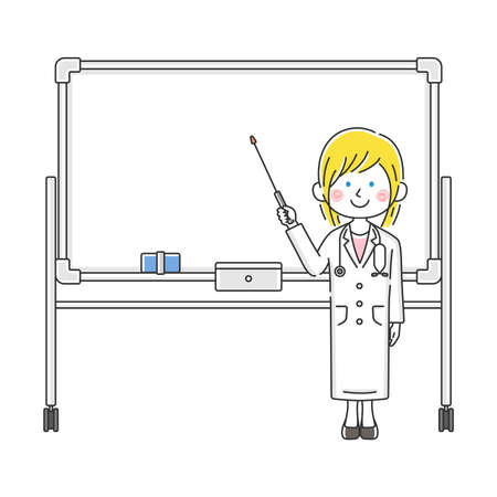 Illustration of caucasian female doctor explained on whiteboard