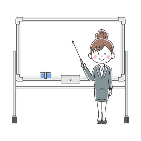 Illustration of Japanese businessman explained on whiteboard