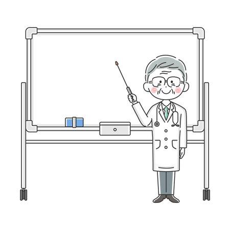 Illustration of an elderly Japanese doctor explained on a whiteboard