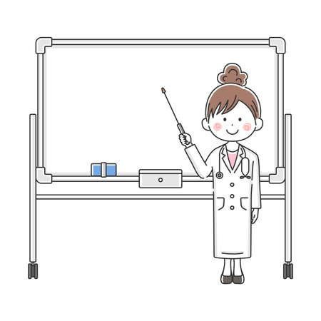Illustration of Japanese female doctor explained on whiteboard
