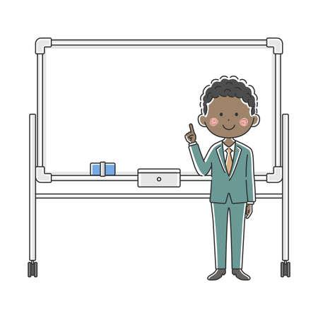 Illustration of a black businessman explained on a whiteboard Illusztráció