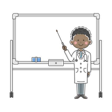 Illustration of a black doctor explained on a whiteboard