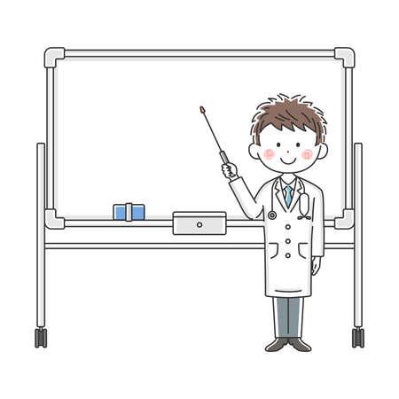 Illustration of a Japanese doctor explained on a whiteboard Illusztráció
