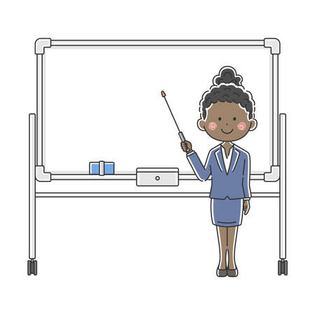 Illustration of a black businesswoman explained on a whiteboard