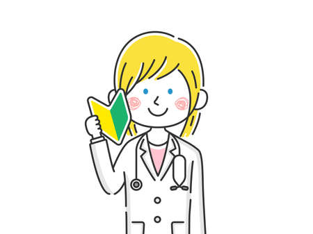 Illustration of caucasian female doctor with beginner mark