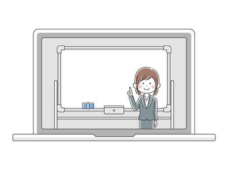Illustration of Japanese female teacher in online class