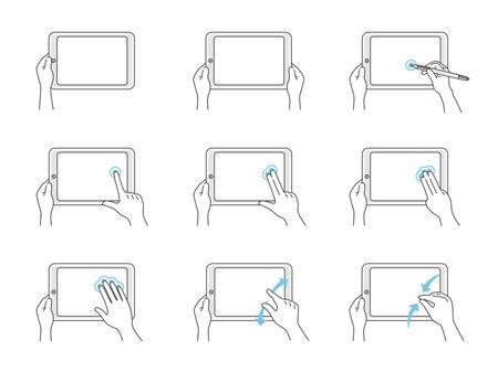 Hand illustration set to operate tablet PC Vektorové ilustrace