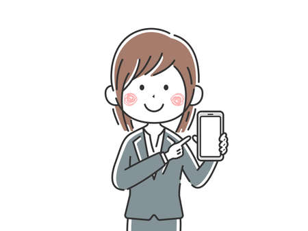 Illustration of Japanese businesswoman displaying smartphone screen