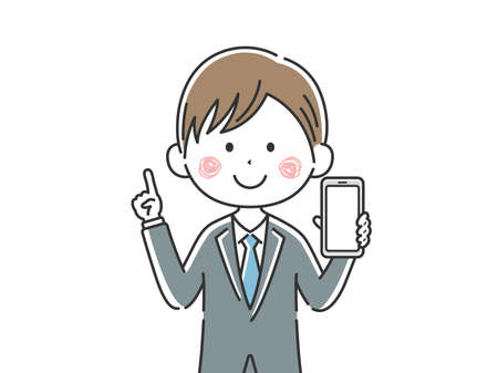 Illustration of Japanese businessman displaying smartphone screen