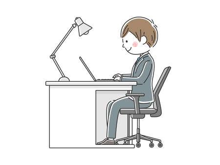 Illustration of Japanese businessman working on laptop at desk