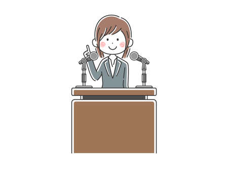 Illustration of Japanese politicians speaking