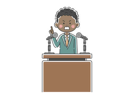 Illustration of a black politician appealing to the people