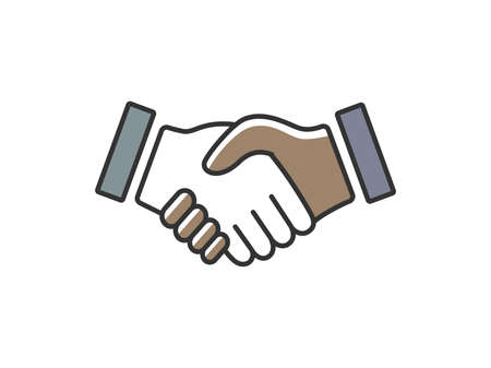 Black and caucasian handshake icon illustration