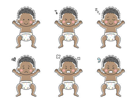 Illustration set of black baby in diaper