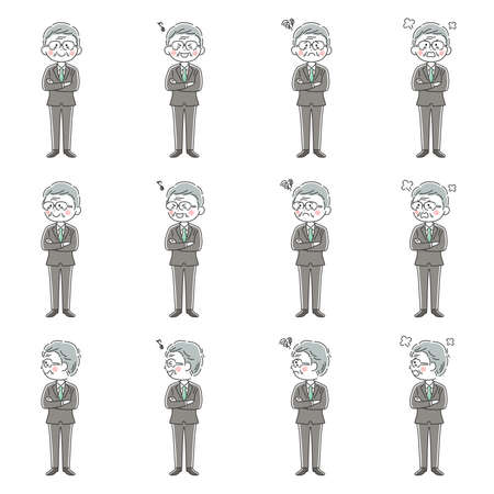 Illustration set of elderly businessman with arm folds