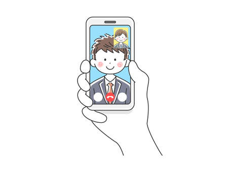 Illustration of businessman d'eering to make video calls on smartphone