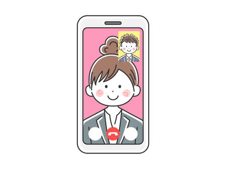 Illustration of a businesswoman d'a video call