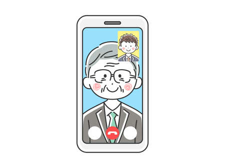 Illustration of an elderly businessman d'a video call
