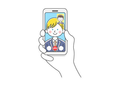 Illustration of white businessman d'eering to make video call on smartphone