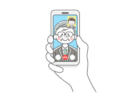 Illustration of elderly businessman dinging video call on smartphone