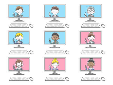 Illustration set of people who have online meetings on a computer