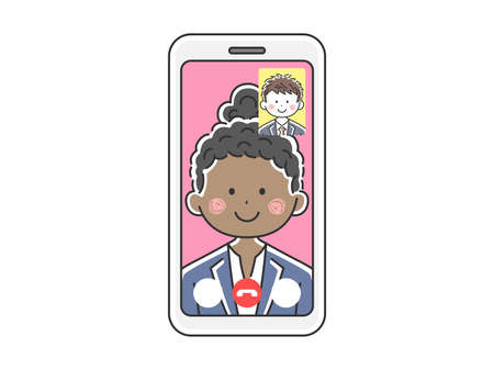Illustration of a black businesswoman d'a video call Illustration