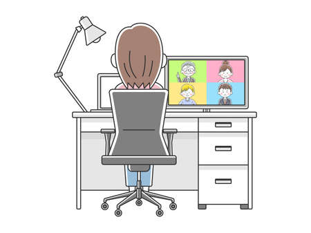 Illustration of woman ing online meeting with remote work
