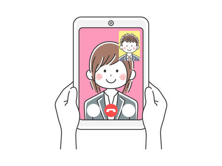 Illustration of businesswoman d'a video call on tablet PC Illustration