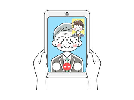 Illustration of elderly businessman dinging video call on tablet PC