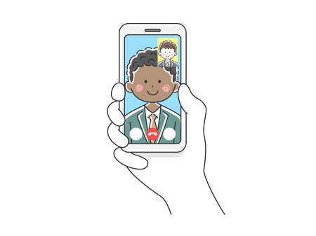 Illustration of a black businessman d'a video call on a smartphone