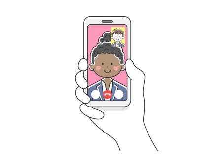 Illustration of a black businesswoman d'a video call on her smartphone