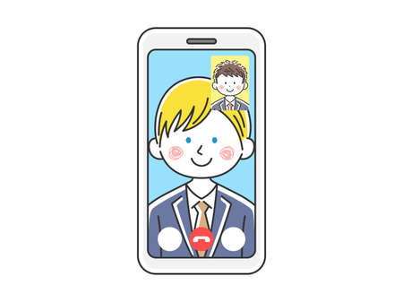 Illustration of white businessman d'a video call Illustration