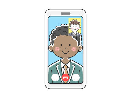 Illustration of a black businessman d'a video call