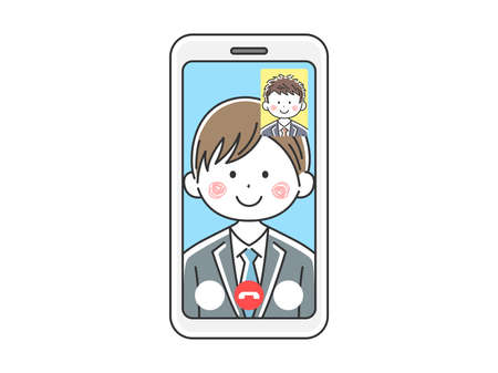 Illustration of a businessman d'a video call