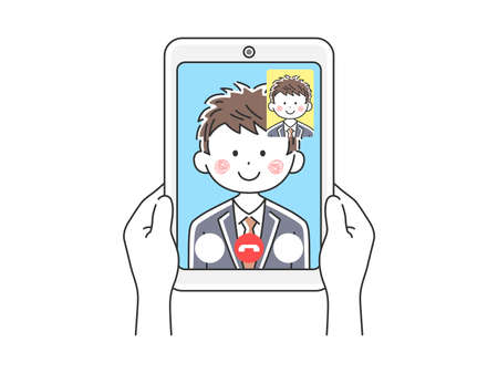 Illustration of businessman dinging video call on tablet PC Illustration