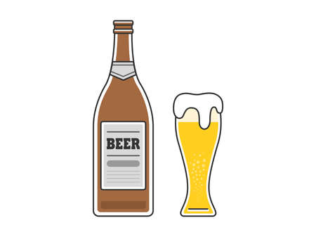 Beer Illustration Beer Bottle Beer Glass