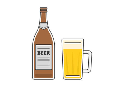 Beer Illustration Beer Bottle Beer Mug
