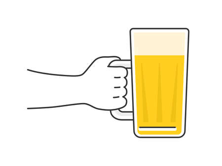 Illustration toasting with a beer mug