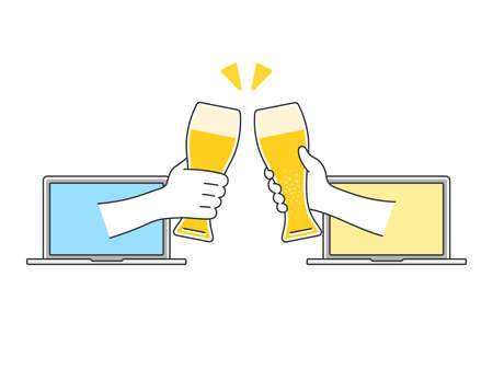 Illustration toasting at an online drinking party