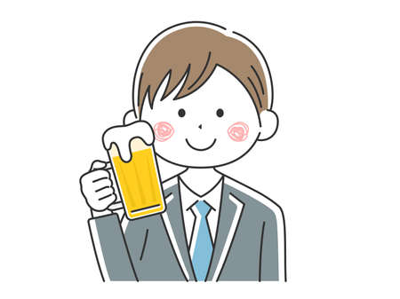 Illustration of businessman drinking beer Illustration