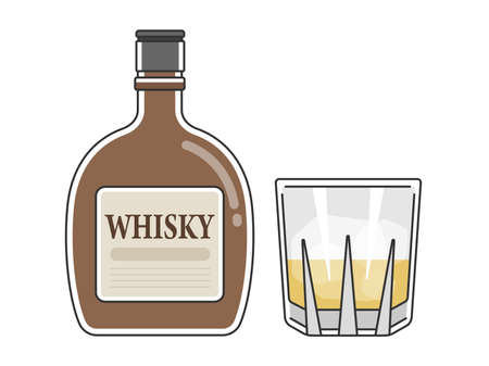 Illustration of whiskey and whiskey glass
