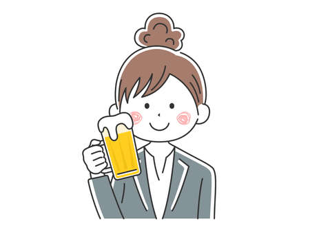 Illustration of businesswoman drinking beer