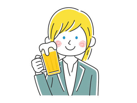 Illustration of caucasian businesswoman drinking beer