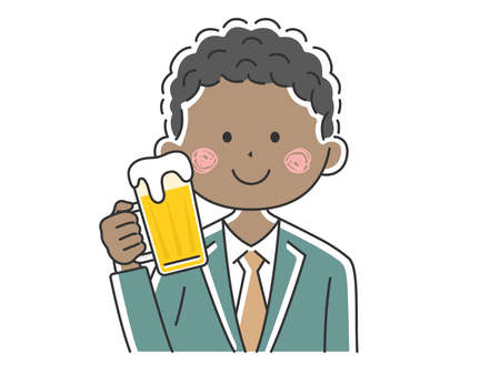 Illustration of black businessman drinking beer